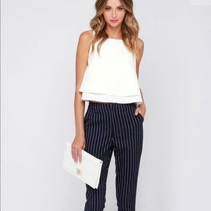b06274de72e94 High waisted black and white stripes formal pants